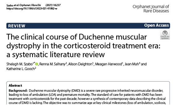 The clinical course of Duchenne muscular dystrophy in the corticosteroid treatment era: a systematic literature review