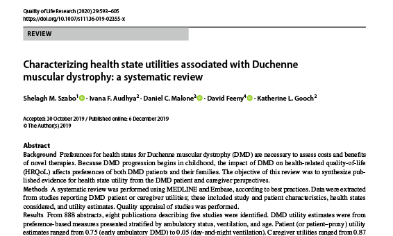 Characterizing health state utilities associated with Duchenne muscular dystrophy: a systematic review